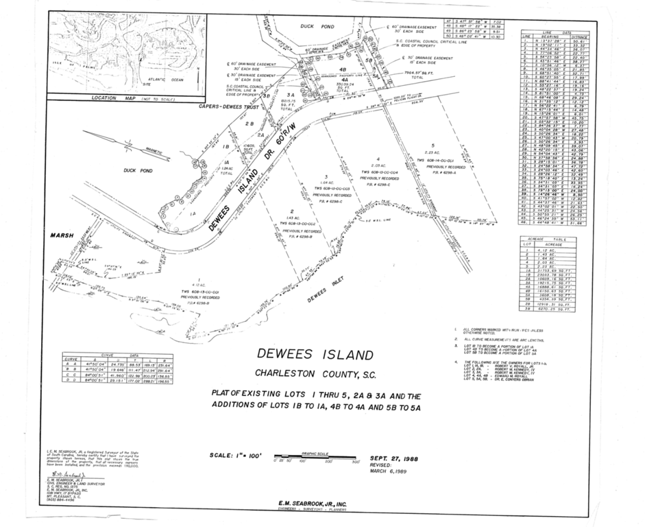Plat of Dewees Inlet Drive
