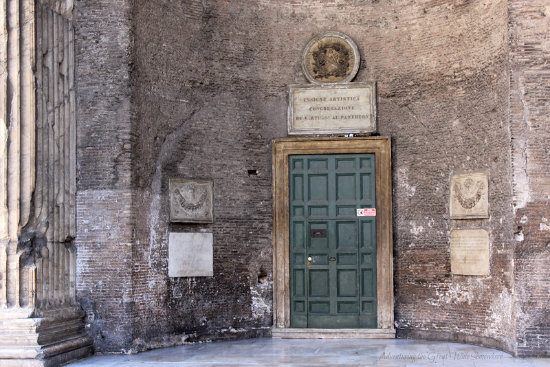 Gorgeous Green Side Door to the Pantheon in Rome, Italy