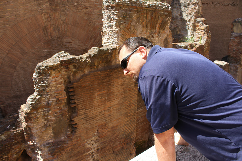 Dan Looking Into the Ruins Surrounding the Pantheon in Rome, Italy