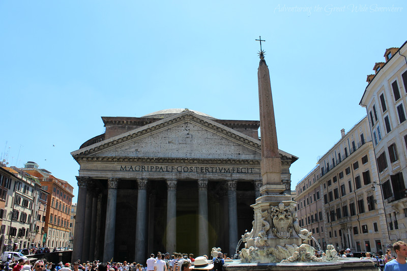 The Pantheon, and Fountain of the Pantheon, in Rome, Italy