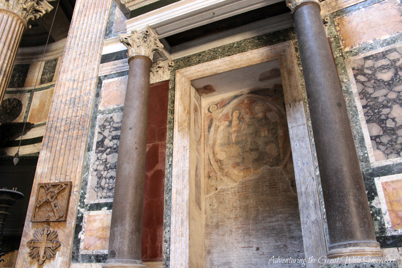 Age-worn fresco inside the Pantheon in Rome, Italy