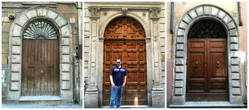Trio of beautiful carved wooden doors on the streets of Rome, Italy