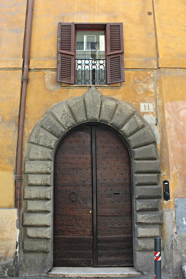 Carved Wooden Door in Piazza della Rotunda in Rome, Italy