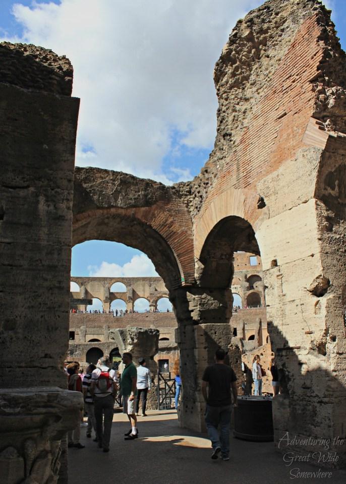 The worn arches of the Colosseum in Rome, Italy.