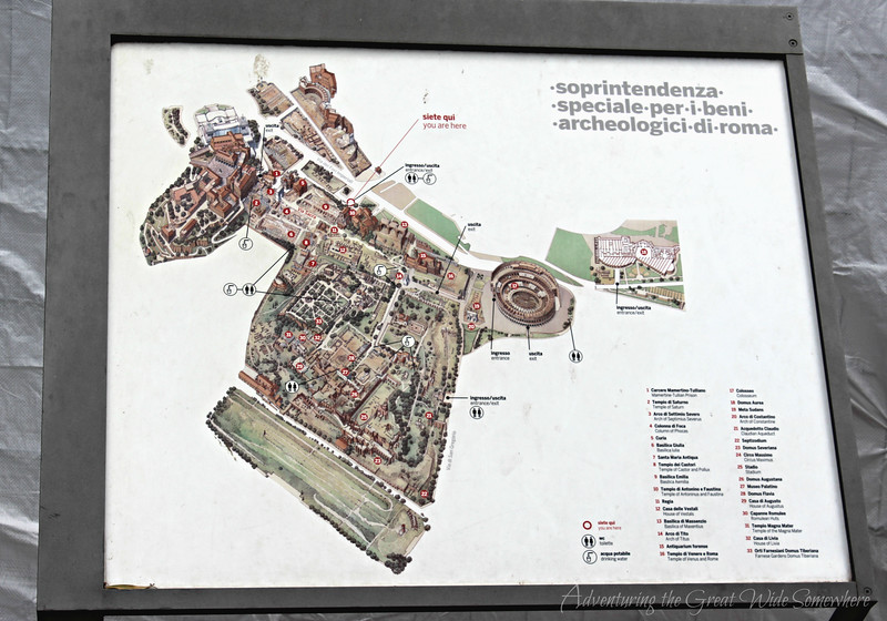 Map of the Roman Forum, posted at the entrance. We referred to this photo often as we roamed the site.