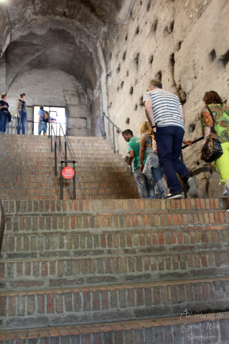Steep stairs leading up to the second level of the Colosseum in Rome