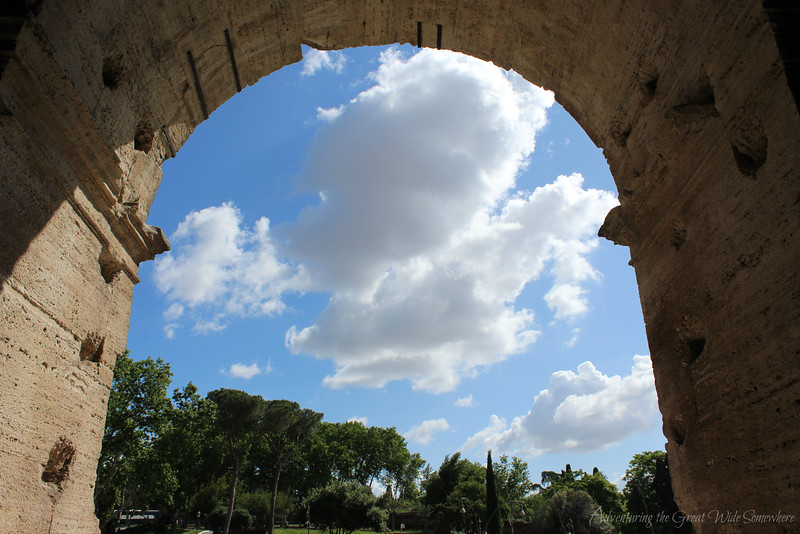 View of the trees and blue skies from inside one of the Colosseum's arched openings.