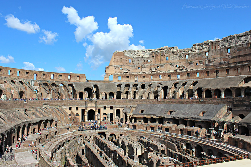 View of the Colosseum interior, which actually resembles a modern day football stadium!