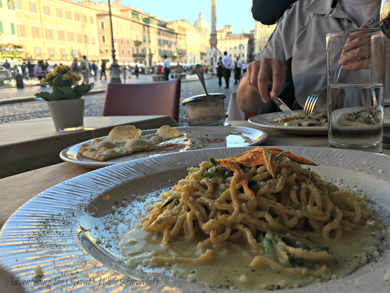 Rome Day 2: Cacio e pepe and spinach and mushroom ravioli at Bernini, a restaurant in the beautiful Piazza Navona