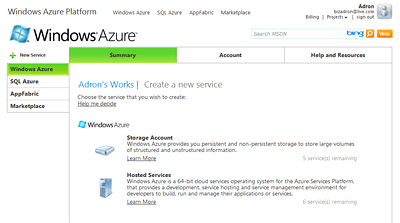 Windows Azure Create a Service