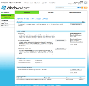 Windows Azure Storage Account Properties