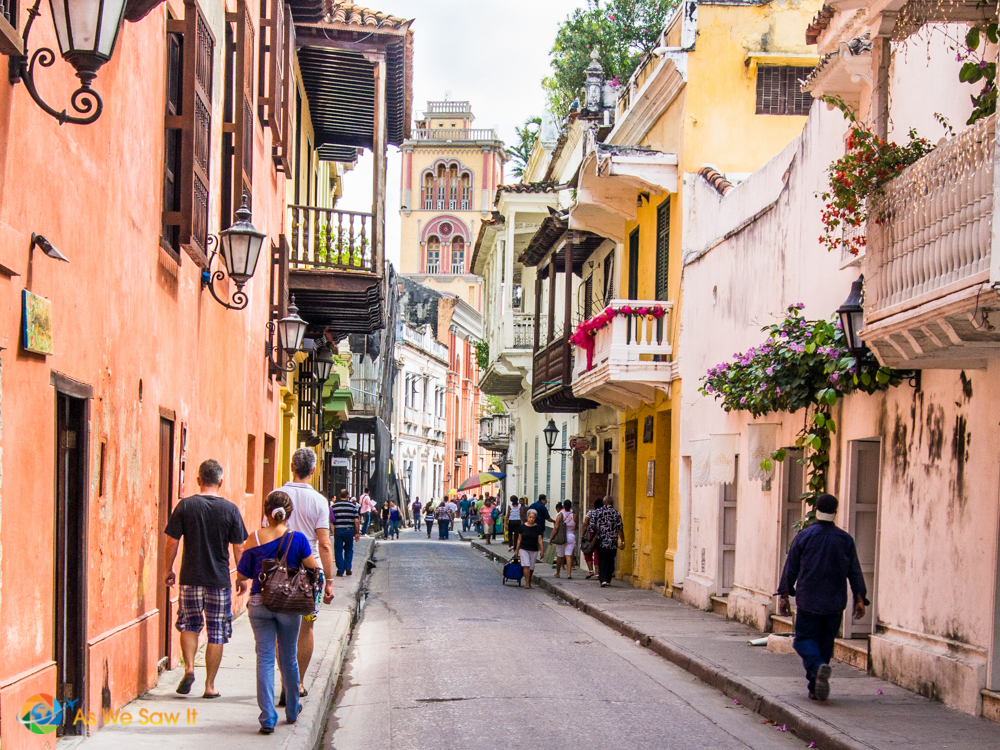 Balconies and muted pastels are prominent in Cartagena's old walled city.