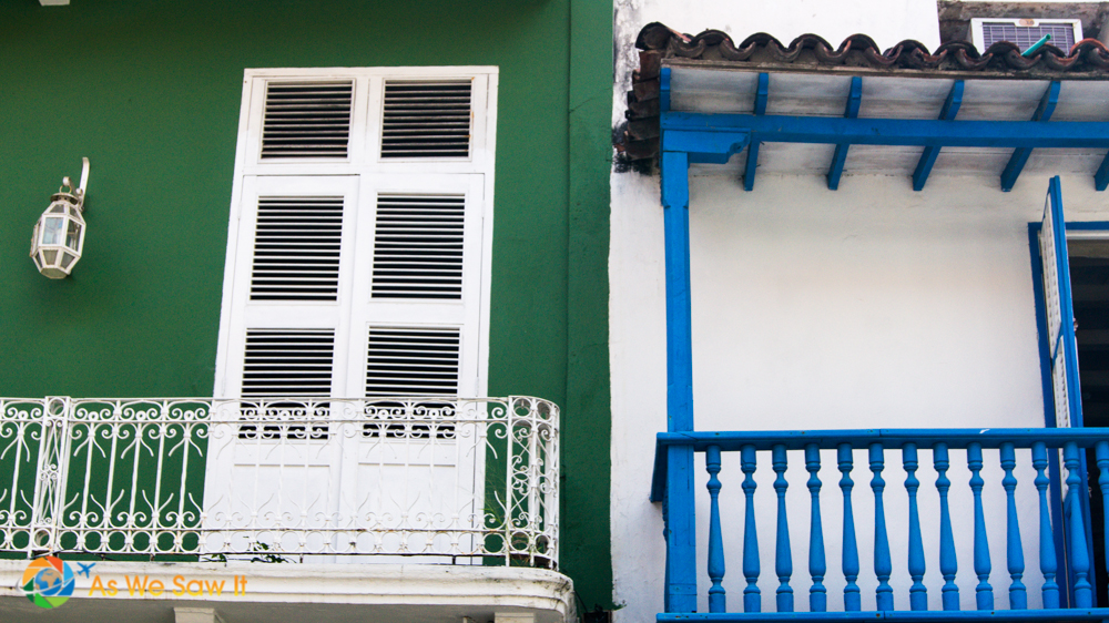 Brilliant shades vie for attention on balconies in Cartagena.