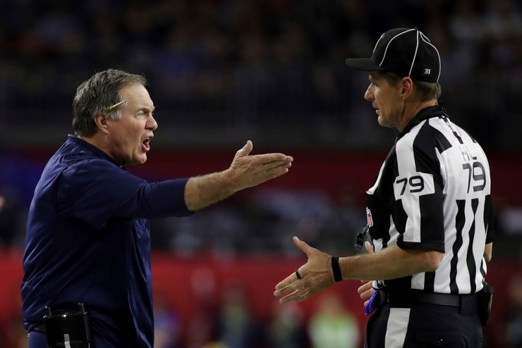 Bill Belichick arguing wuth referee Keny Payne in Super Bowl LI