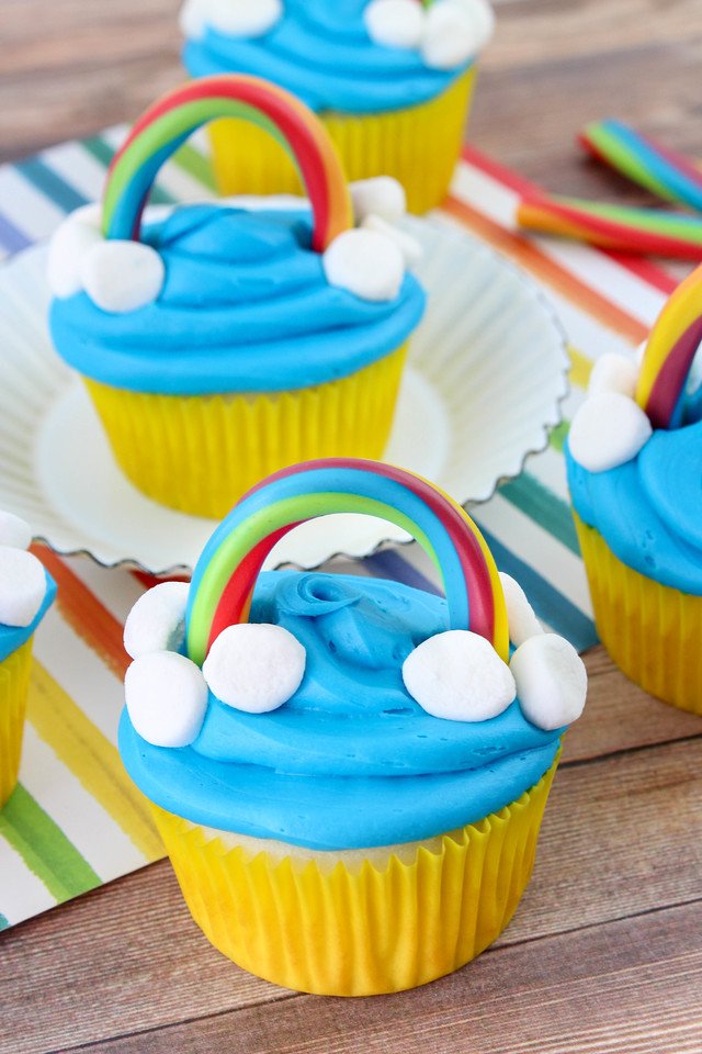 The Most Cheerful Rainbow Cupcakes Ever are just what we need right now to combat exhaustion and the end of summer blues. Make them in just five ingredients!