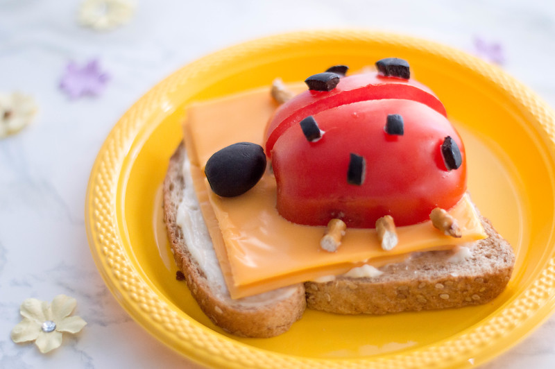 ladybug open-faced. sandwich