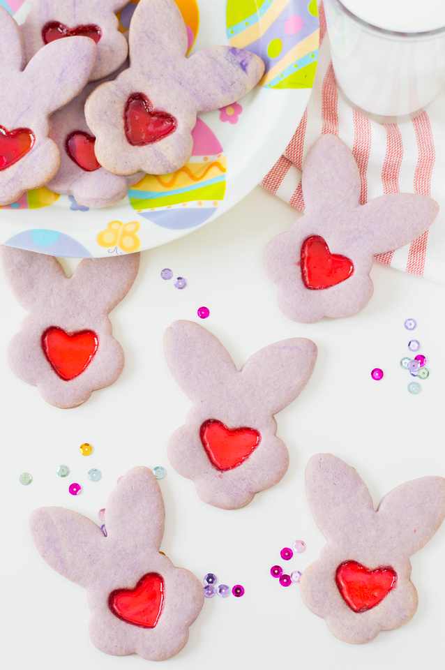 These Easter Bunny Stained Glass Cookies are made from scratch and easy to make. Have the kids help make these perfect cookies to leave for the Easter Bunny