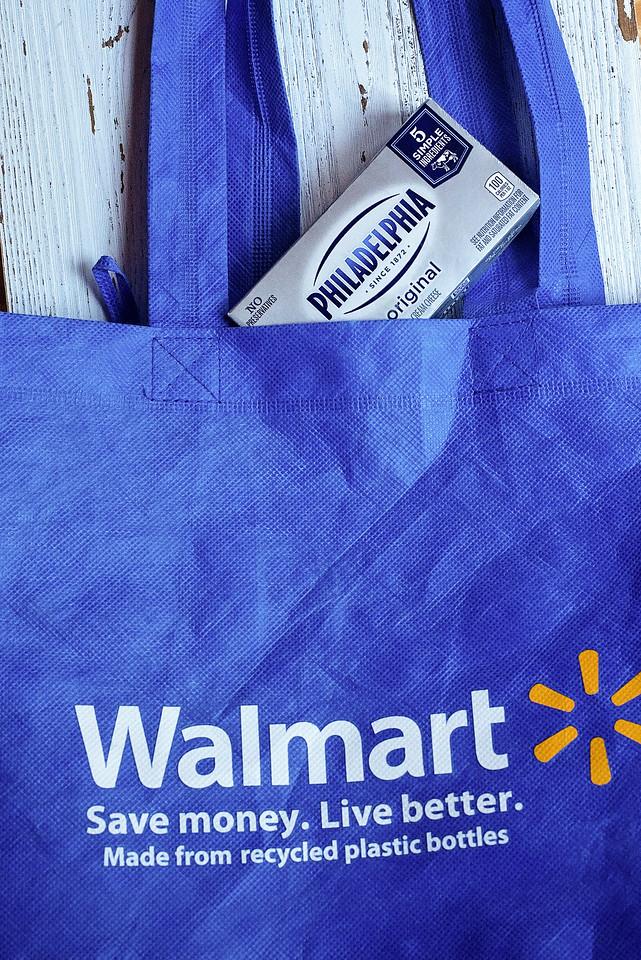 Walmart shopping bag and cream cheese