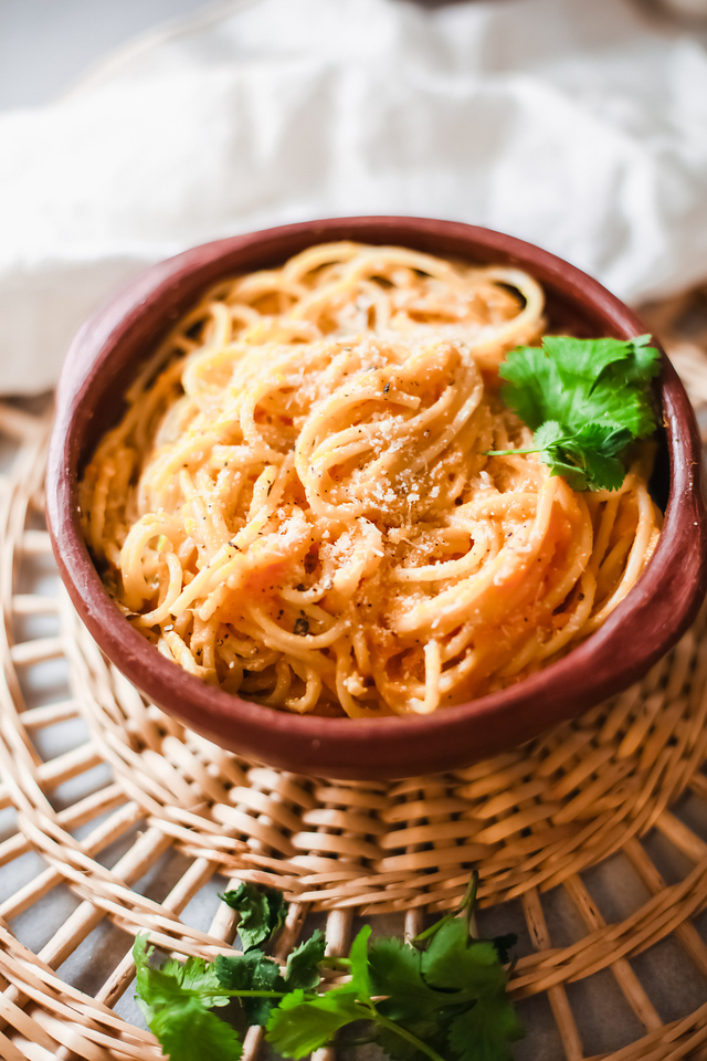 Creamy Pumpkin Pasta is the perfect fall dish - it's a comfort food dish, but also easy enough to make for potlucks and holidays too!