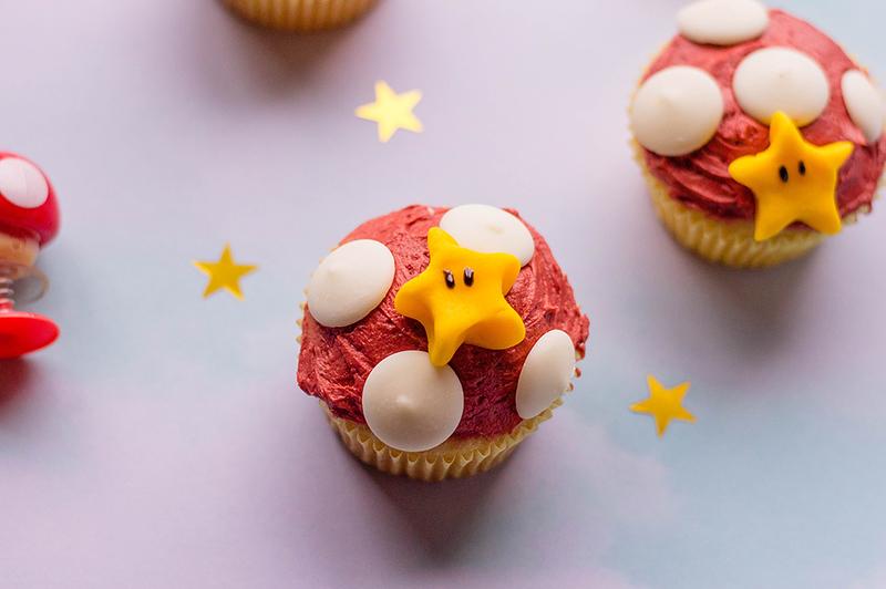 mario bros. mushroom cupcakes