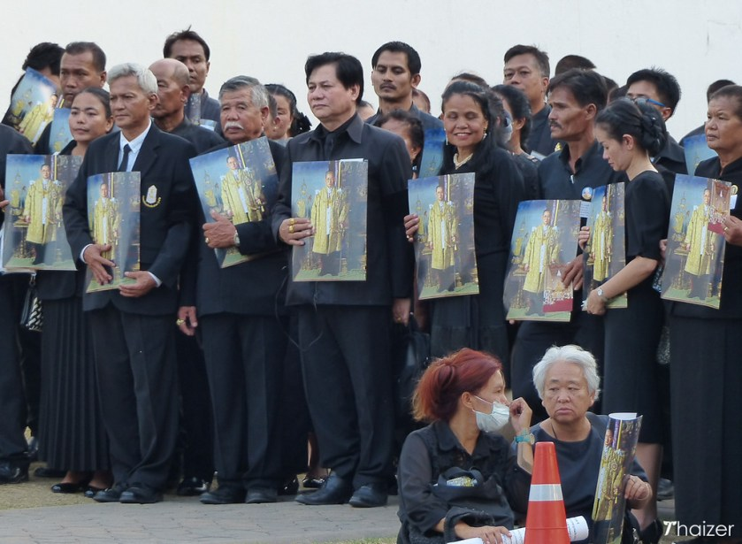 mourners outside the Grand Place in Bangkok in November 2016
