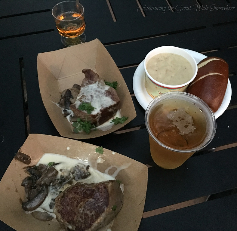 Le Cellier Filet Mignon, Apple Ice Wine, Canadian Cheddar Cheese Soup, and Moosehead Lager from the Canada Outdoor Kitchen at Epcot's 2016 Food and Wine Festival