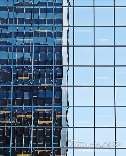 Abstract pattern of window reflections