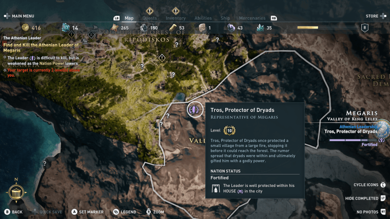 The Athenian Leader location in Megaris of Assassin's Creed Odyssey