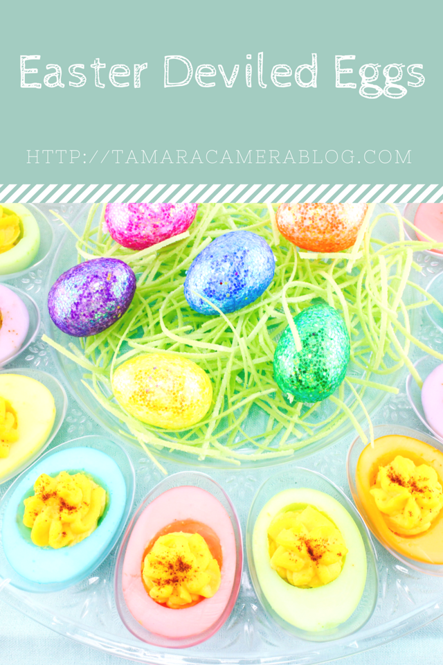 Who doesn't love deviled eggs? These perfect pastel deviled eggs are perfect for #spring and #Easter. They require just a little prep/cooking. Easy #recipe!