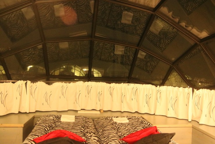 bed in glass igloo of kakslauttanen