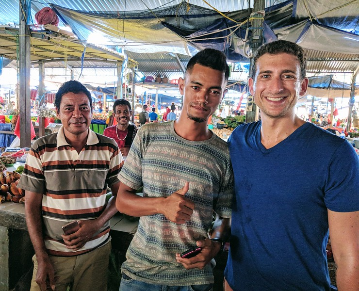 Travel to East Timor - market vendor and me