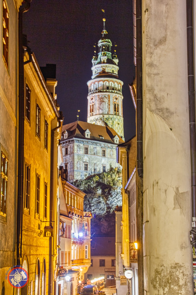 The Cesky Krumlov Castle Tower Dominating the Skyline Above the Old Town (©simon@myeclecticimages.com)