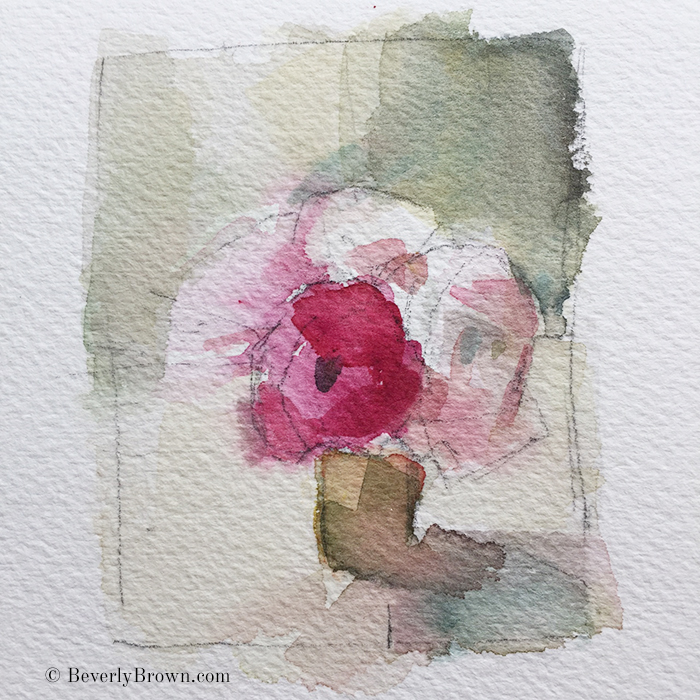 A quick watercolor preparatory sketch of a vase of flowers by artist Beverly Brown - www.beverlybrown.com