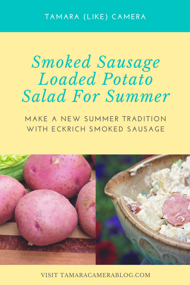 You'll LOVE Smoked Sausage Loaded Potato Salad to kick off summer. The potatoes and smoky Eckrich Smoked Sausage are a match made in heaven #ad #GiveLifeMoreFlavor