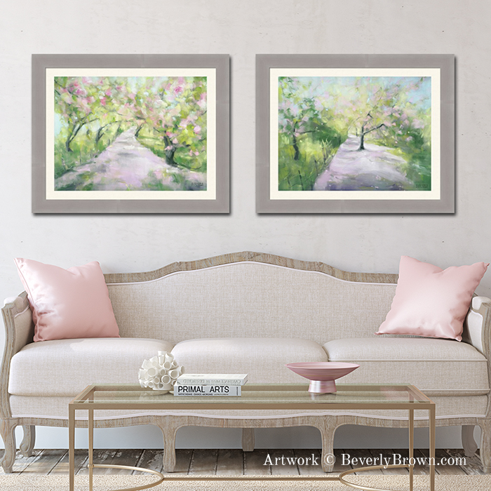 Cherry blossom bramed ball art for a blush pink living room. Featuring Central Park Cherry Blossom Framed Art Prints over the sofa by artist Beverly Brown Artist - Wall Art Ideas for the Living Room - Framed Prints and Canvas Wall Art available at www.beverlybrown.com