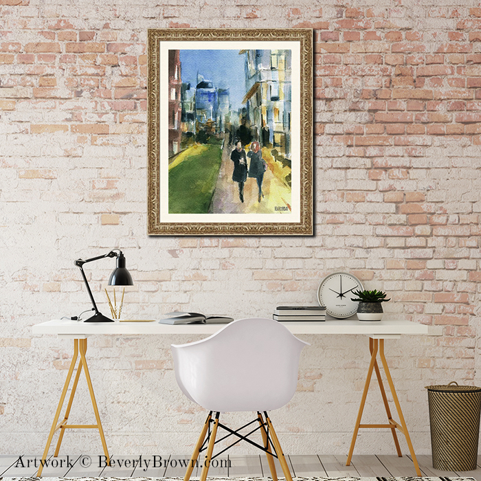 "New York themed art for the office, featuring ""Couple Walking on the New York Highline"" framed New York Wall Art by Beverly Brown - www.beverlybrown.com"