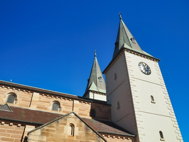 A section of St John's Anglican Cathedral - including a clock tower - which I passed on my bicycle ride in Parramatta.