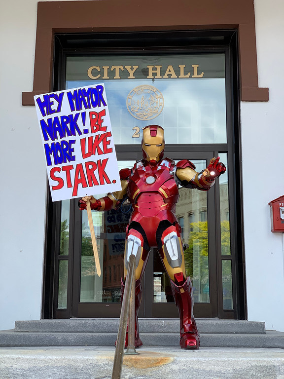 Iron Man in front of City Hall