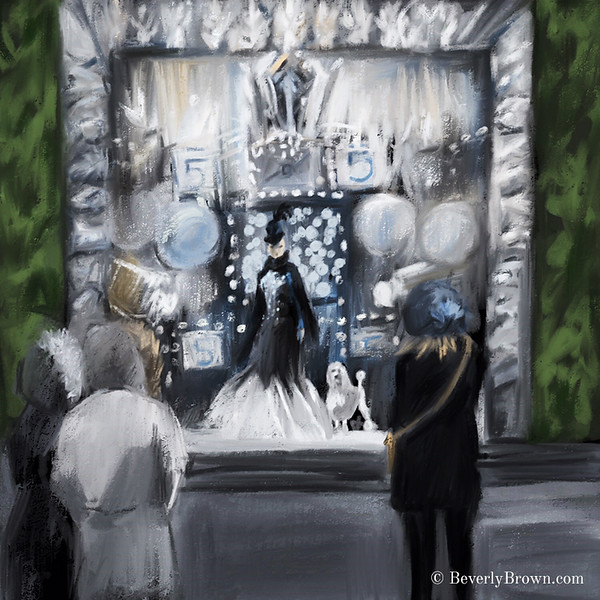 Holidays in NYC. New Yorkers enjoying Bergdorf Goodman's holiday window display. Artwork by Beverly Brown. www.beverlybrown.com