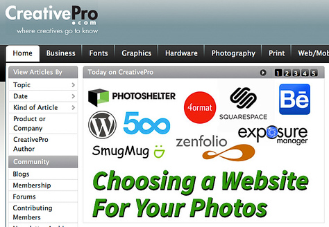 Choosing a Website For Your Photos on CreativePro.com