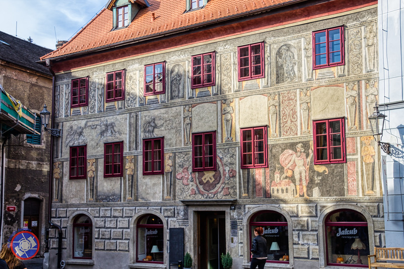 A Building Frontage with a Restored Medieval Fresco in Cesky Krumlov (©simon@myeclecticimages.com)