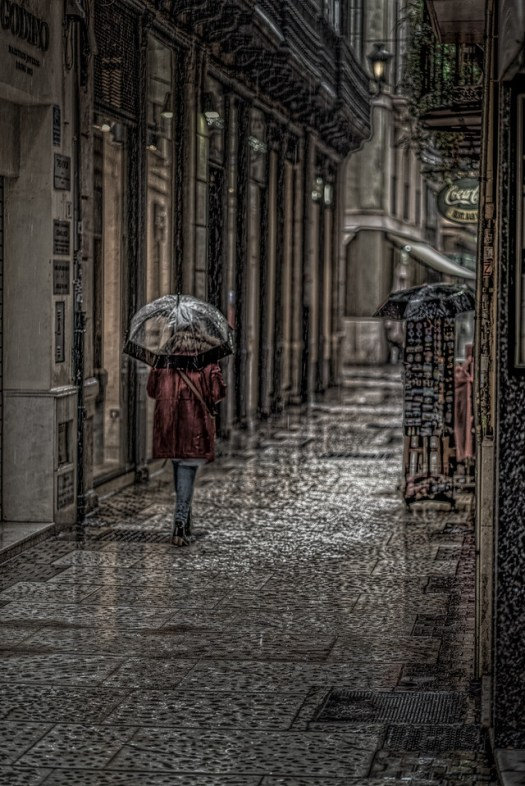 A rainy October day in Malaga Spain