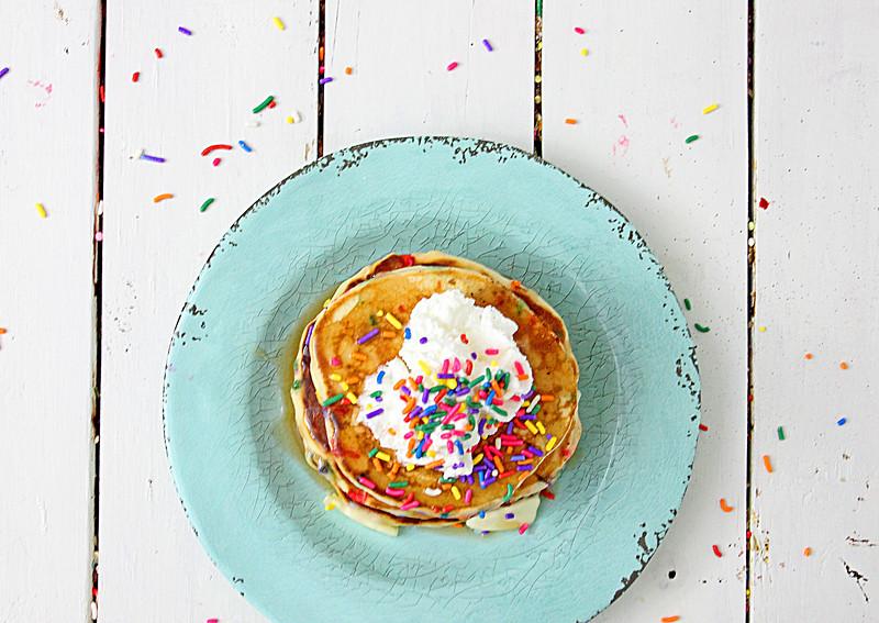 pancakes with rainbow sprinkles