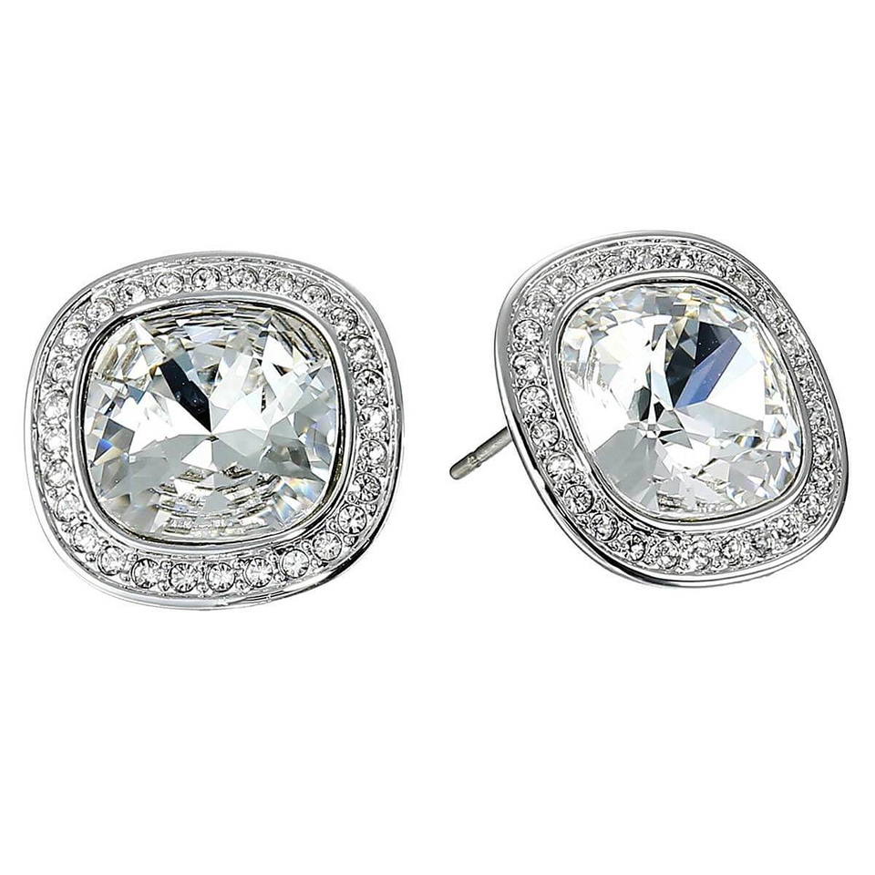 Swarovski Women's Pierced Earrings - Simplicity Square Rhodium-Plated
