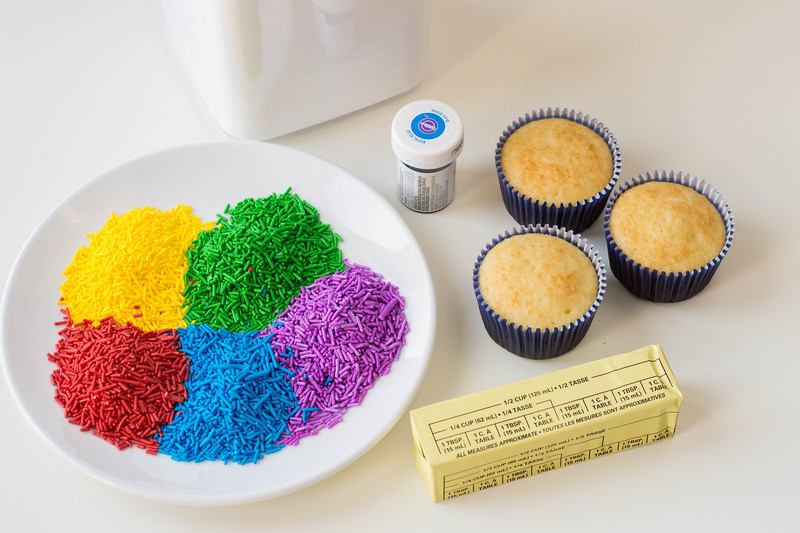 ingredients for rainbow sprinkles cupcakes