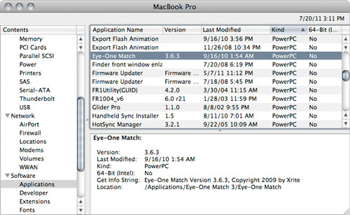 System Profiler showing PowerPC apps