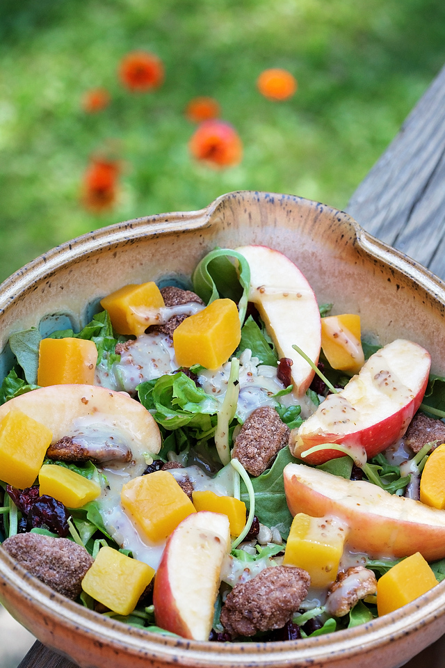 This fall harvest salad is the PERFECT accompaniment to your family pizza night. Enjoy crisp apples, fresh squash, spiced pecans & more #ad #BaronessPatches