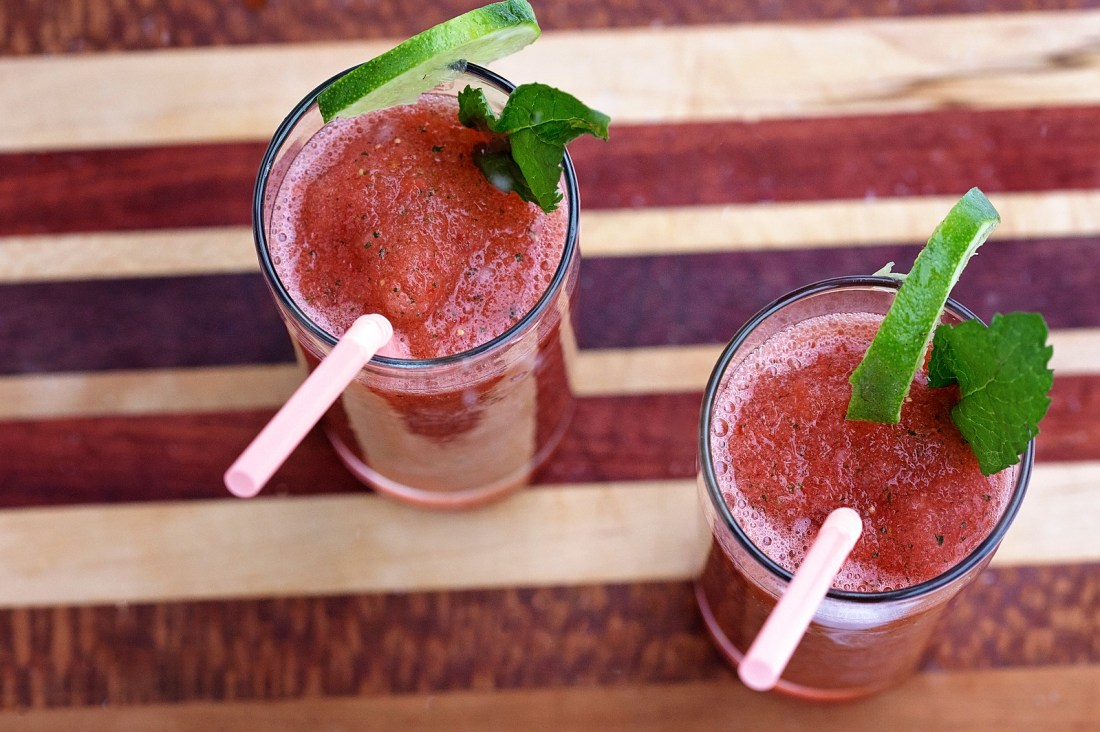 Frozen Strawberry Lime Mojito Slushies