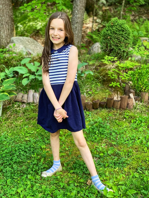 Miss B Trend Setter Navy Striped Sleeveless Dress