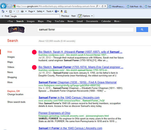 Google search for Samuel Forrer